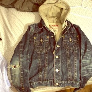 A thick jean sweater jacket
